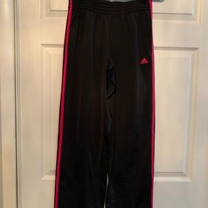 Woman's Black and Pink Adidas Sweatpants